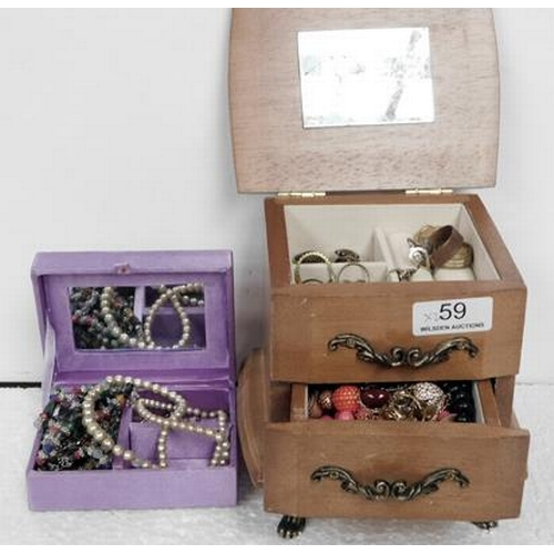 59 - Two jewellery boxes with jewellery