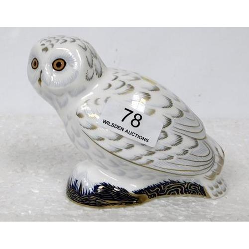 78 - Royal Crown Derby Snowy Owl - Gold Stopper