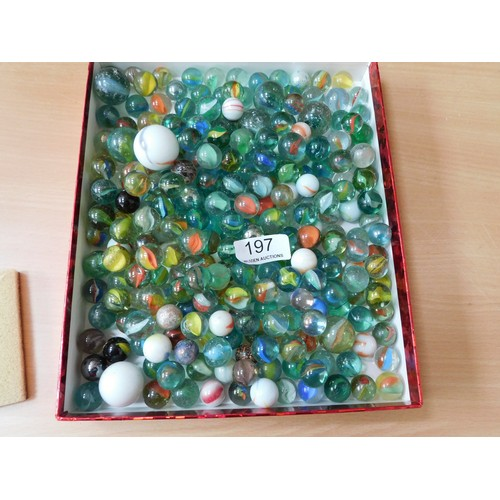 197 - Large bag of marbles (Some rare & some large)