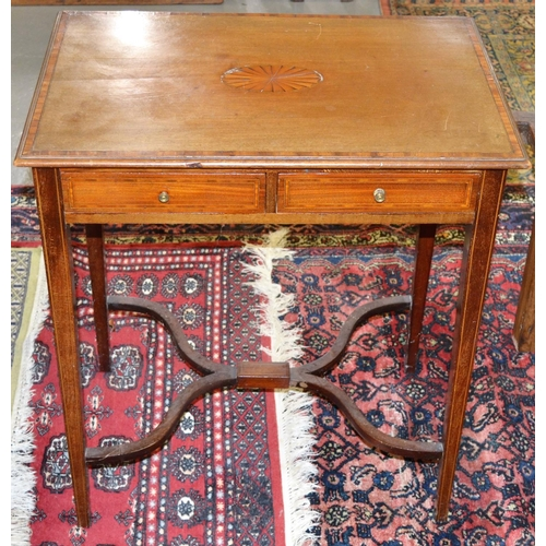 20 - An Edwardian Sheraton Revival side table with 2 drawers...