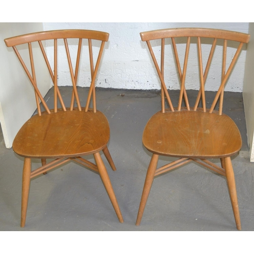43 - 2 1960's blonde Ercol 376 Candlestick dining chairs - all marked verso...