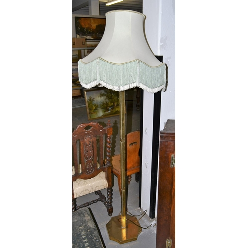 52 - A vintage brass standard lamp...