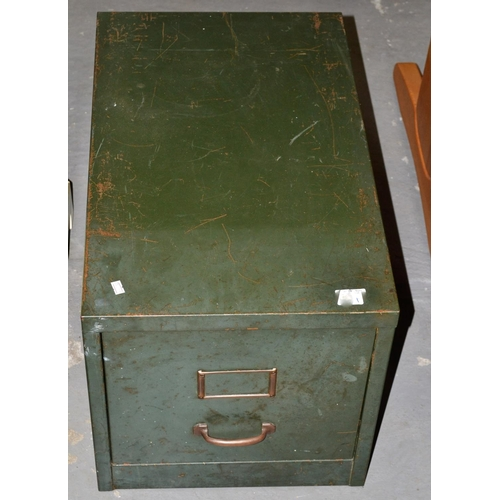 22 - A green metal filing drawer...