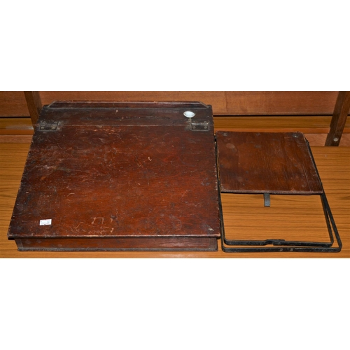 12 - Vintage childs wooden desk top and folding stool...