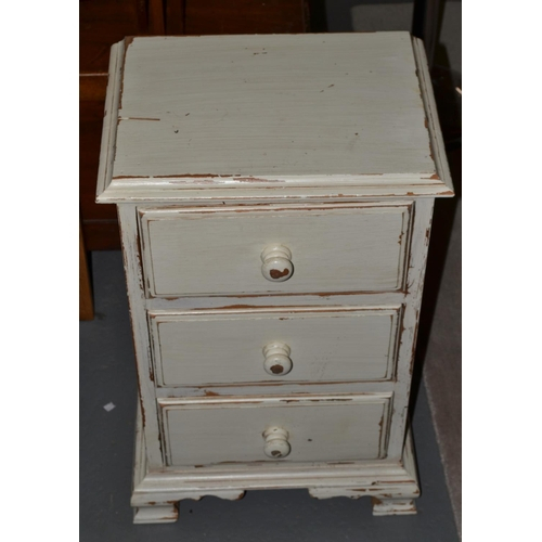 3 - White painted 3 drawer chest of drawers...
