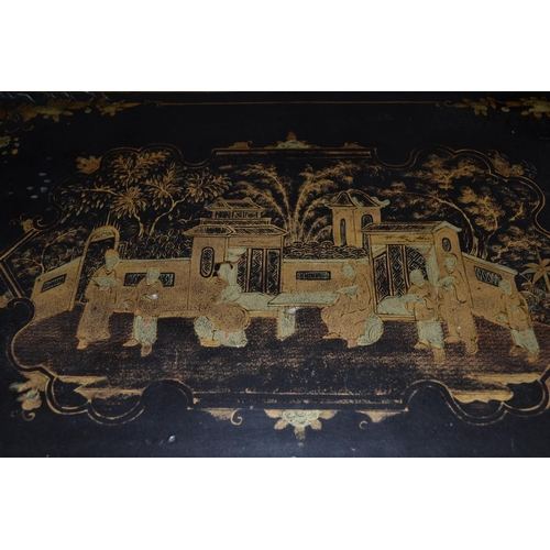 6 - An early 20th century Chinese lacquer table cabinet with 5 drawers - signed...