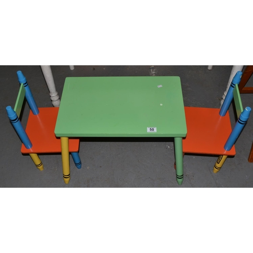 Miraculous Crayola Crayon Designed Childrens Table And 2 Chairs Ocoug Best Dining Table And Chair Ideas Images Ocougorg