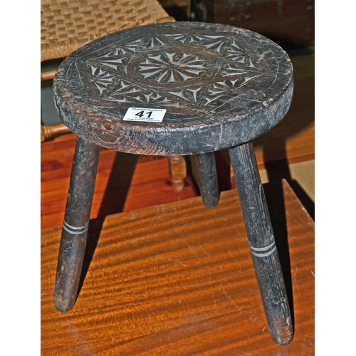 Wondrous Antique Carved Wooden Milking Stool Pabps2019 Chair Design Images Pabps2019Com