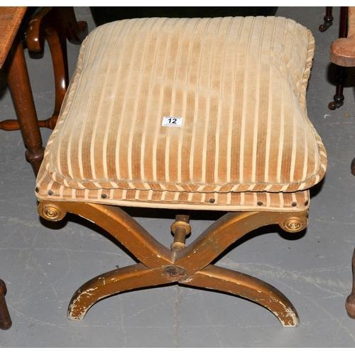 12 - A vintage gilt wood upholstered X frame foot stool...
