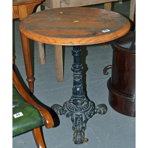 43 - A vintage pub table with cast iron base and wooden top...