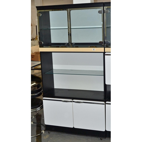 57 - A retro black and white cabinet with chrome fittings - dated 1978 - to match previous lot...