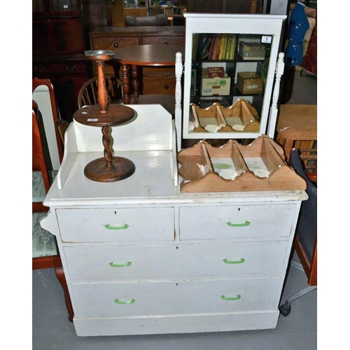 1 - 2 over 2 Victorian painted pine chest of drawers with mirror and towel rail...