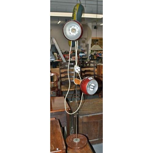20 - A retro aluminium and teak pole lamp...