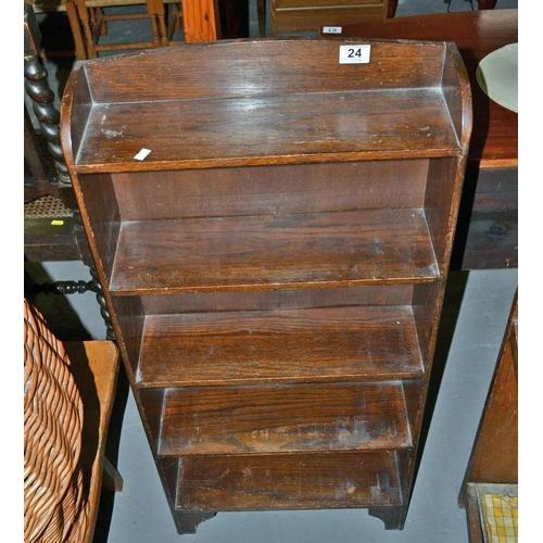 24 - Vintage oak book shelves...