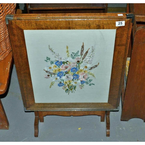 25 - Embroidered fire screen...