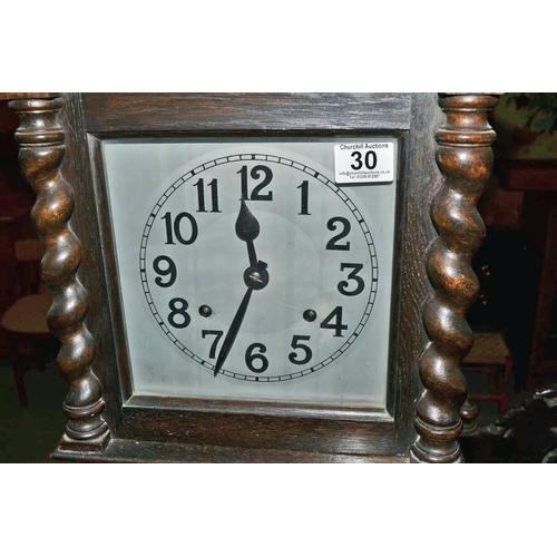 30 - 1930's oak cased small long case clock...