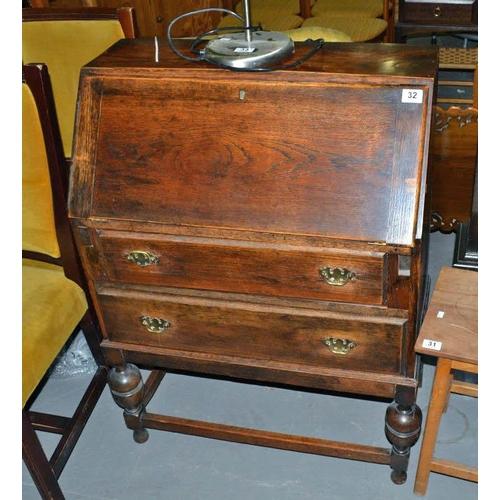 32 - Vintage oak bureau...