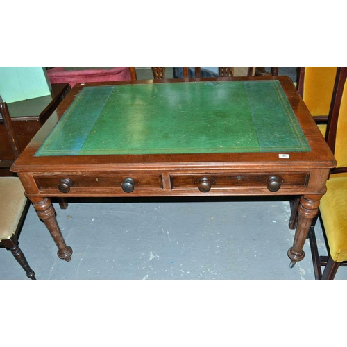 36 - Victorian leather topped Mahogany library table...