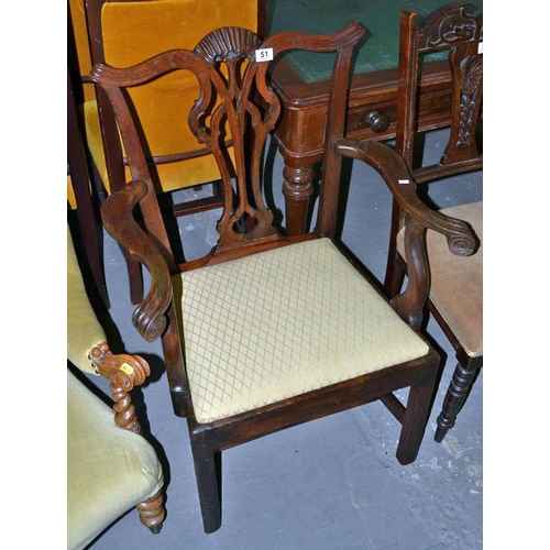 51 - Georgian arm chair...