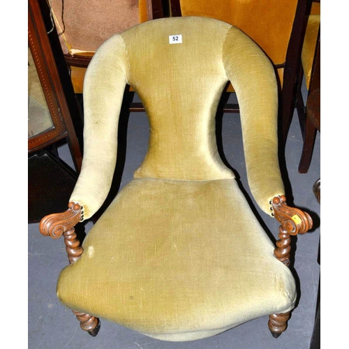 52 - Vintage nursing chair with carved arm...