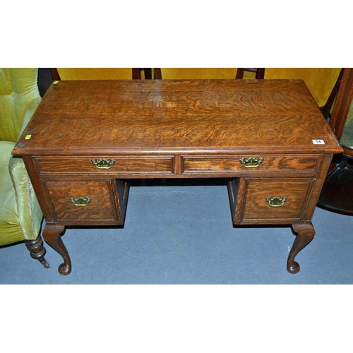 54 - Oak desk on cabriole legs...