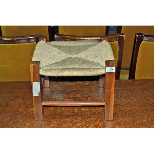 55 - Rush seated stool...
