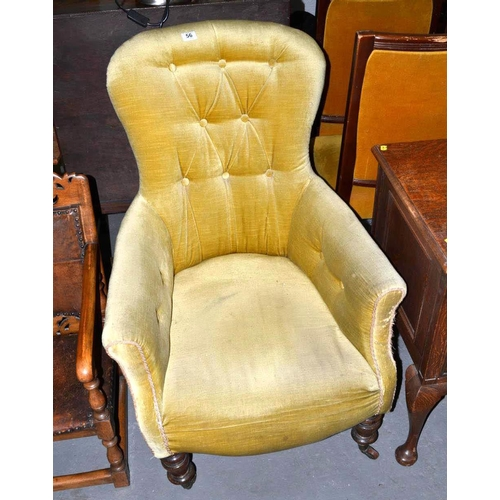 56 - Antique button backed arm chair...