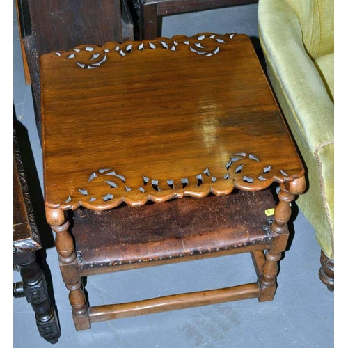 57 - Vintage oak and leather metamorphic chair and table...