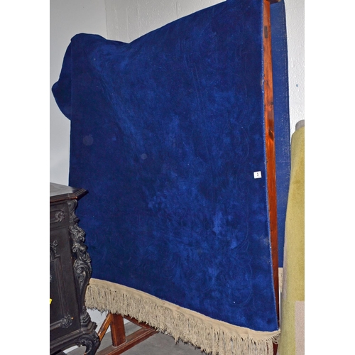 3 - A large royal blue thick pile rug...
