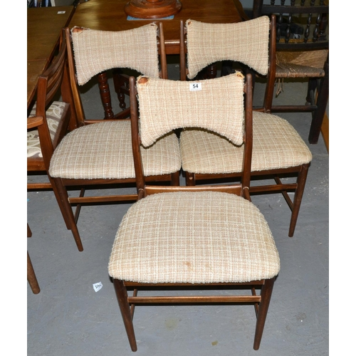 54 - 3 Retro dining chairs by Everest...