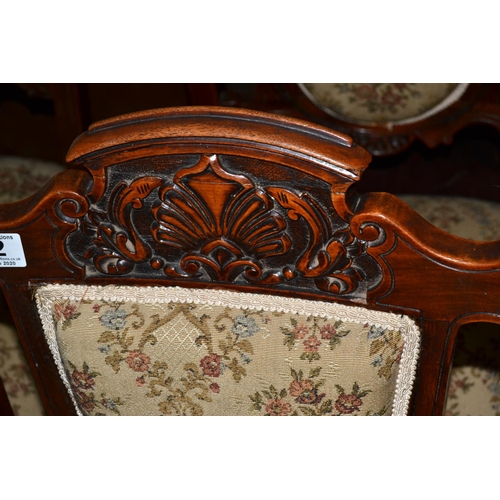 32 - 4 antique dining chairs with carved details...