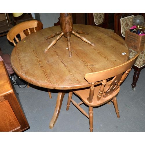 33 - Pine dining table and 2 chairs...