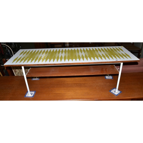 36 - A retro Formica topped coffee table...