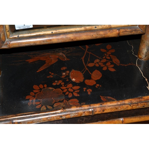 4 - Antique Japanese bamboo table mirror with lacquer details...