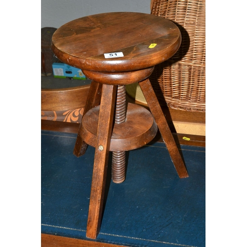 51 - Wooden screw topped stool...