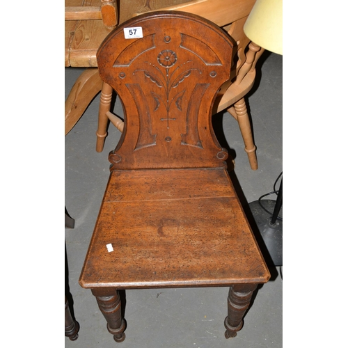 57 - Carved Mahogany Gothic style hall chair...