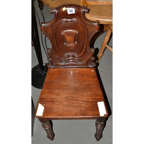 58 - Carved Mahogany Gothic style hall chair...