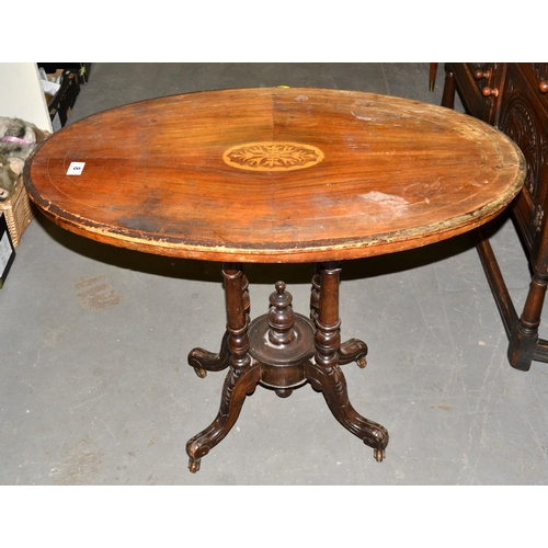 8 - Antique Oval inlaid table...
