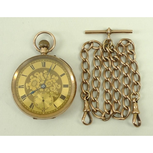 428 - A gentleman's 9ct gold pocket watch with engraved decoration, Roman numerals and secondary second di...