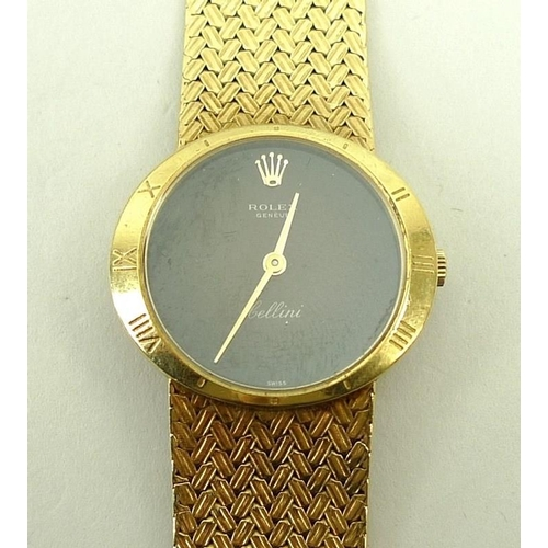 431 - An 18ct gold lady's Rolex Cellini wristwatch, circular black dial with Roman numerals to the case be...