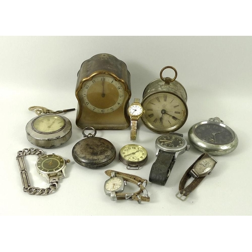 437 - A collection of vintage clocks and watches, comprising a black faced Lemania military wristwatch, wi...