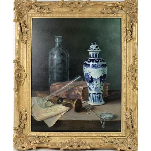 587 - Raymond Campbell (British, b. 1956): a contemporary still life depicting a Chinese crackle glaze jar...