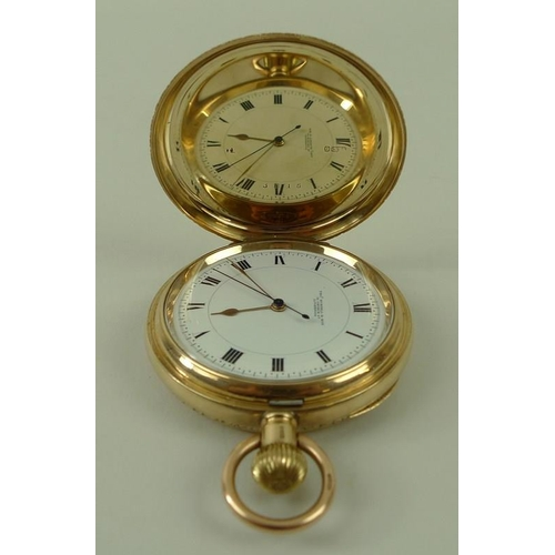 813 - A 9ct gold cased double hunter pocket watch, Chester 1916, Thomas Russell and Sons, watchmaker to Qu...