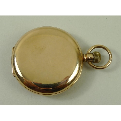 827 - A 9ct gold cased half hunter pocket watch, the white face with Roman numerals and subsidiary dial, J...
