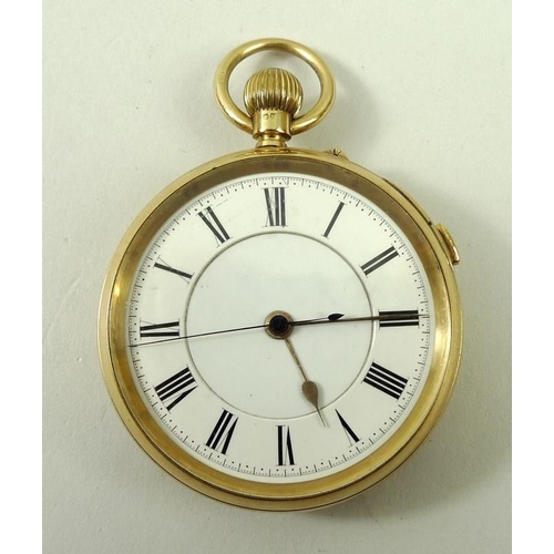 829 - An 18ct gold cased pocket watch, with blued hands and Roman numerals to the chapter ring, case Chest...