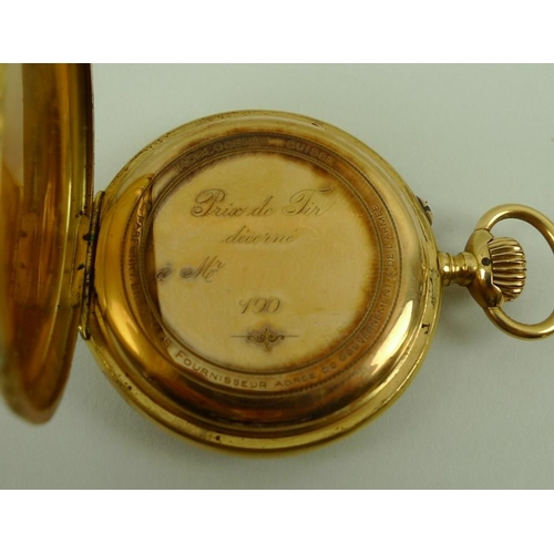 798 - A Continental 18ct gold keyless lever pocket watch, early 20th century, with Arabic numerals and sub...