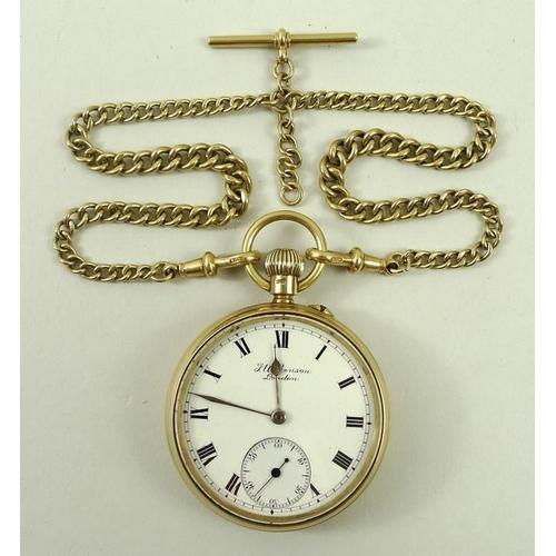 692 - A Victorian 18ct gold cased gentleman's open faced pocket watch, J. W. Benson, London, keyless wind,...