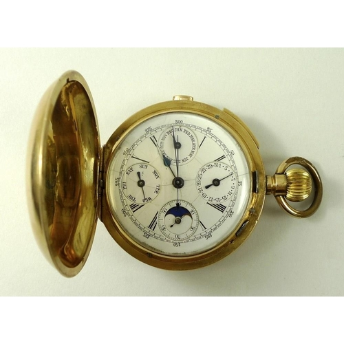 702 - A late Victorian 18ct gold pocket chronometer watch, by R. C. Oldfield, Liverpool, with astronomical...