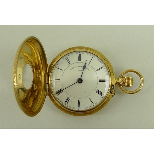 710 - An Edward VII 18ct gold half hunter pocket watch, Thos Russell & Son, the white dial with Roman nume...