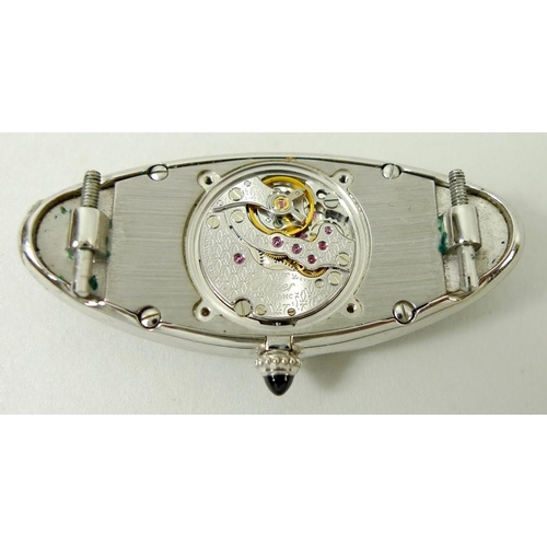 825 - An 18ct white gold Cartier 'Baignoire Allongee' lady's wristwatch, circa 1990s, the elongated oval f...